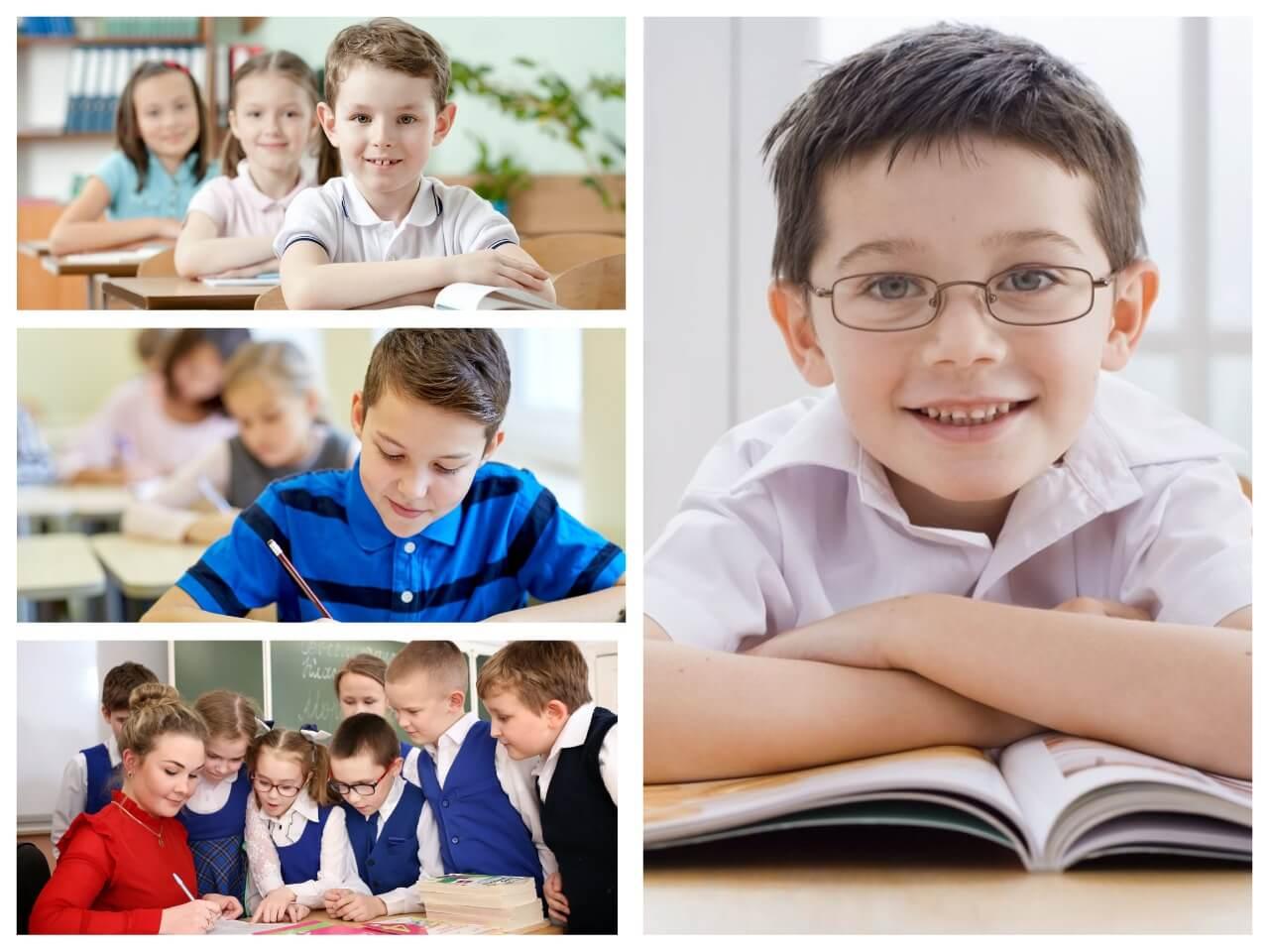 На фото изображены ученики в школе.