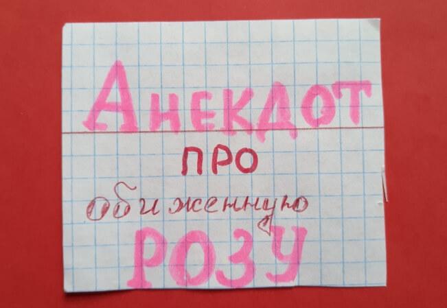 """На фото изображена надпись: """"Анекдот про обиженную Розу."""""""