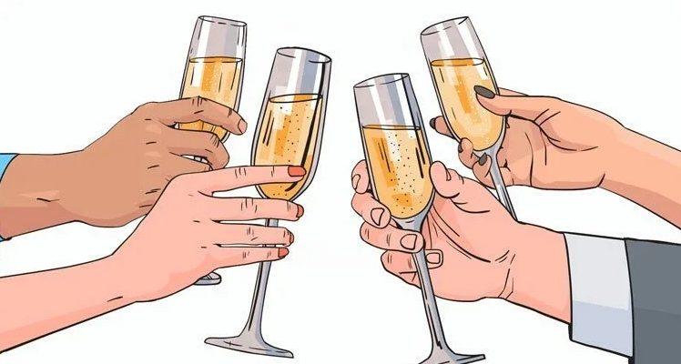Цокающиеся бокалы. Произнесите красивый тост на свадьбу в прозе.