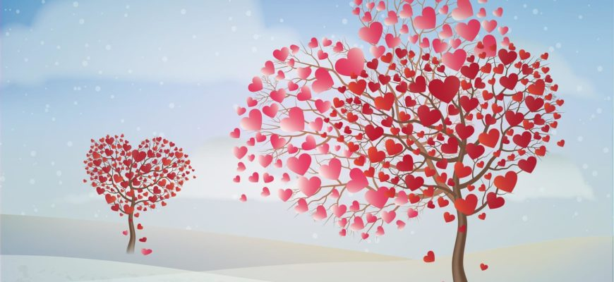 Деревья с сердечками. Красивые фразы про жизнь и любовь