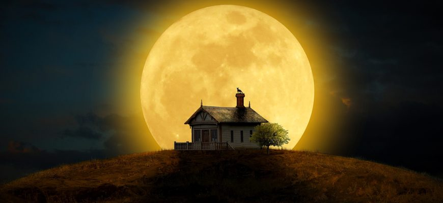 Дом на фоне луны. Подборка поговорок про луну