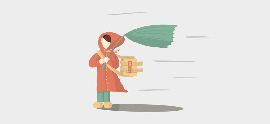 Девочка с зонтом. Красивые поговорки и пословицы про ветер